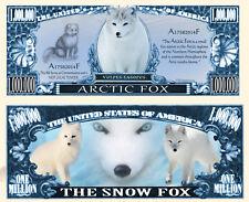 Le RENARD POLAIRE Billet MILLION DOLLAR US! Isatis Arctic Bleu Neige Animal Fox