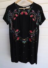 Rusty Women's Black Pink Blue Gold Floral Dress - Size 10