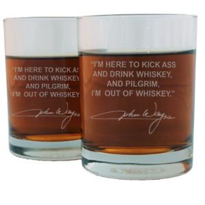 John Wayne Quote Etched Whiskey Glass Set