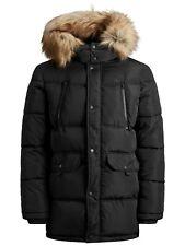 Jack & Jones Core Puffer Jacket Mens Parker Fur Hooded Puffa Parka Coat JCOMario