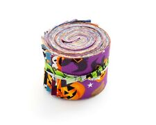 """17 pc Halloween 2 Jelly Roll 2.5"""" pre-cut 100% cotton fabric quilting strips"""