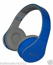 New Blue Bluetooth Headphones Headset for All Mobile Cell Phone Laptop PC Tablet