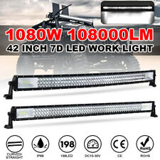 42'' Inch 1080W Curved/Straight 7D LED Work Light Bar Combo Car Truck Offroad