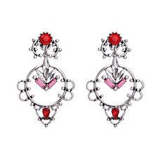 Boucles d`Oreilles Clous Argenté Chandelier Dentelle Rouge Baroque Mariage XX20