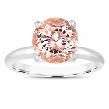 2.40 Carat Pink Peach Morganite Solitaire Engagement Ring 14K White Gold