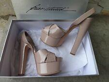 Brian Atwood Manhattan Nude Patent Skyhigh Open Toe Platform Sandals EU 37