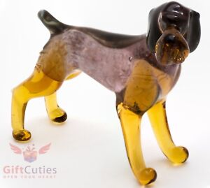 Art Blown Glass Figurine of the German Wirehaired Pointer Dog