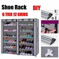 6 Tier Shoe Rack Shelf Storage Closet Organizer Cabinet Home Door W/ Cover