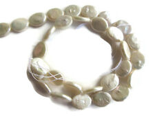 White Fresh Water Flat Oval Shaped Pearl Beads 15 Inches 30pcs 11mm To 14mm FP37