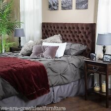Queen to Full Chocolate Brown Suede Headboard w/ Button Tufted Accent