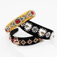 Baroque Ladies Crown Embellished Headband Hairband Jewelled Crown Costume Tiara