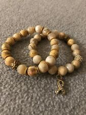 Crystal Pave Bead Cancer Ribbon Bracelet Yellow/Tan Faceted Agate w/ Gold &