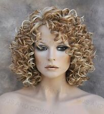Short Corkstrew Human Hair Blend wig Blonde mix Heat Safe mel 27-613