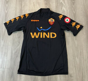 2007-2008 AS Roma ASR Kappa Football Soccer Black Jersey VTG Size Small