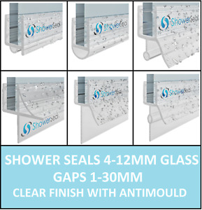 Shower Seals 4 to 12mm Glass   Up to 30mm Gap   Bath Screen Door   Clear
