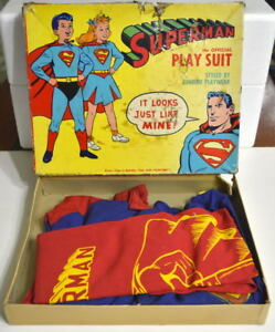 SUPERMAN PLAY SUIT Size 8 Funtime Playwear Vintage 1950's