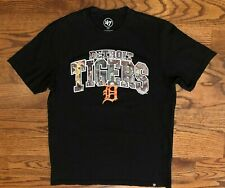 Detroit Tigers Baseball 47 Brand Short Sleeve Black T-Shirt Men's Medium Euc