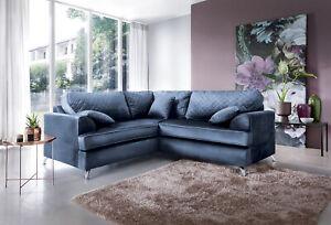 Ferguson Easy Clean Velvet Corner Sofa in Oxford Blue and Dark or Light Grey