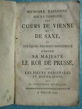 VON HERTZBERG : MEMOIRE CONDUITE DES COURS DE VIENNE ET DE SAXE, 1756.