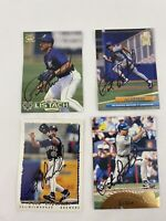 Pat Listach Autograph Trading Cards Lot Of 4 Topps Fleer Milwaukee Brewers 1995