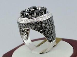 Brilliant Black & White Round Cut Diamond Men's Ring Solid 925 Sterling Silver