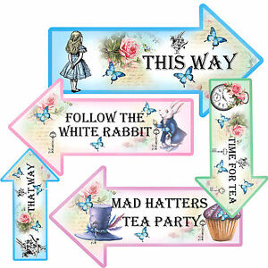 Alice In Wonderland Arrows quotes Party Signs Party Props Tea party Decoration