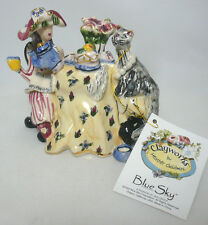 "Blue Sky Clayworks Heather Goldminc 2002 ""Tea Time"" Pottery Figure New, Signed"