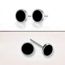Hot Men Women Jewelry Simple Cool Silver Plated Black Ear Studs Earrings Studs