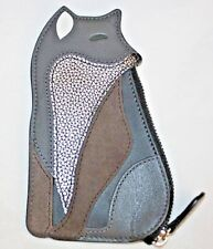 """Coach"" Coin Purse~Fox~Leather/Suede~Black/Gray/Silver~NWT"