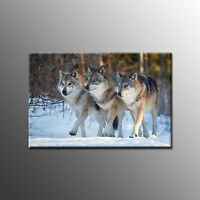 Canvas Print Wolves In snow Art Print Oil Painting on Canvas Home Decor No Frame