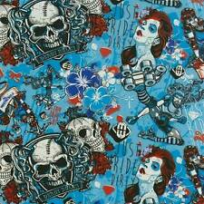 Wassertransferdruck Folie Blau Skulls Woman - 50cm breit