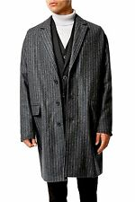 NWT Topman Men Grey Size Medium Three Button Pinstripe Woolen Duster Jacket Coat