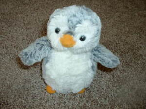 "Aurora Plush Gray Penguin Stuffed Animal Toy Small 6"" White Yellow Super Soft"