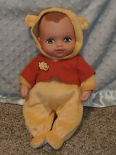 """1990 LAUER TOYS 12"""" WATER BABY WINNIE THE POOH, BROWN HAIR"""