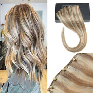 Sunny Beaded Weft Human Hair Extensions Ash Brown with Caramel Blonde 18/613#