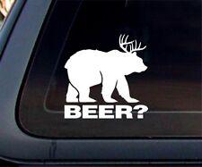 Bear + Deer = Beer? Funny Humorous Joke Car Decal / Sticker - White