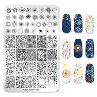 NICOLE DIARY Rectangle Stamping Plates Overprint Festive Nail Stamp Stencil L06