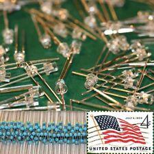 100x Yellow 3mm Flat Top LEDs Wide Angle Light 12v Resistor Kit USA