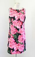 Eliza J Pink Floral Print Keyhole Back Beaded Shift Dress Size 12 Cocktail Party