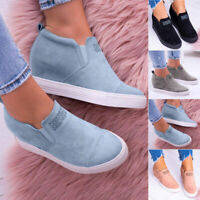 Womens Hidden Wedge Mid Heel Ankle Boots Ladies Casual Trainers Sneakers Shoes