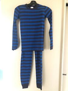 Hanna Andersson navy and blue stripes organic cotton pajama set 150 12 US  AS IS