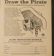 1966 Draw The Pirate Eye Patch Instruction Schools Oddball Commercial Art Ad