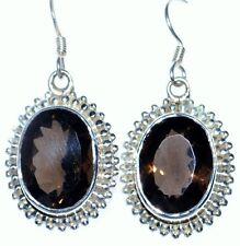 Smoky Quartz Gemstone Unique 925 Sterling Silver Earring drop Earrings Jewellery
