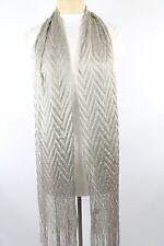B85 Silver Pleated Chevron Zig Zag Texture Pressed Formal Evening Scarf Shawl