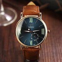 Fashion Date Leather Stainless Steel Sport Quartz Noctilucent Men's Wrist Watch