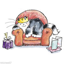 New Penny Black CUSHY Wood Rubber Stamp Kitty Cat Crown Sofa Chilling Birthday