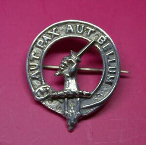 Sterling Silver Clan Gunn badge brooch