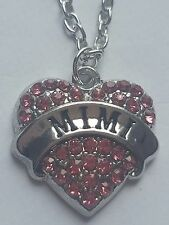 PINK MIMI FAMILY GIFT CRYSTAL LOVE HEART PENDANT RHINESTONE NECKLACE