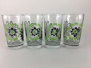 Libbey juice glasses Set of 4 green black flower mod hippie 6 oz.