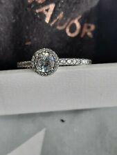 Genuine new Pandora Classic Sparkle Halo Ring  198864C01 Size 54
